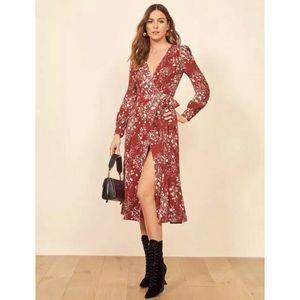 REFORMATION NWT Susanna Bryce Wrap Dress Midi Sz M